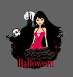 beautiful female vampire and a haunted ho Royalty Free Stock Photos