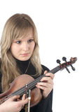 Beautiful female with violin Stock Photos