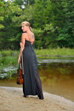 Beautiful female violin player - music series Stock Photography