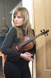 Beautiful female violinist Royalty Free Stock Images