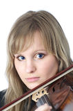 Beautiful female violinist portrait Royalty Free Stock Photography