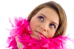 Beautiful female wearing feather stole Royalty Free Stock Photos