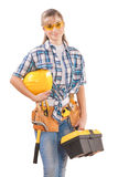 Beautiful female wearing working clothes Stock Photo