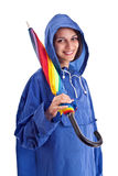Beautiful female whit umbrella Stock Image