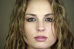 Beautiful female white model Head Shot eyes. Female white model with beautiful hazel eyes stock images