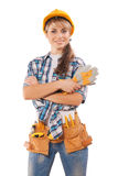 Beautiful female worker (agitation photo) Stock Photo