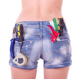 Beautiful female worker with tools Royalty Free Stock Images