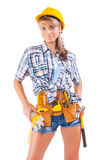 Beautiful female worker on a white background Stock Photo