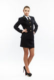 Beautiful female young airline pilot Royalty Free Stock Photos