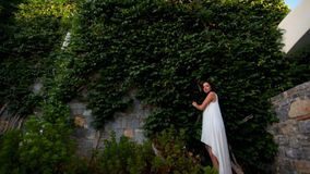 Beautiful fence of green ivy leaves and young girl near it. Beautiful girl with dark hair in white dress on the background of a big wall with green ivy stock video footage