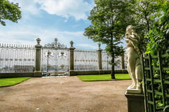 Beautiful fence and statue in the Summer garden in St. Petersbur Royalty Free Stock Images