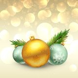 Beautiful festival greeting of christmas with realistic balls an. D fir leafs Royalty Free Stock Photography