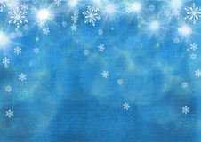 Beautiful festive abstract grunge background with snowflakes and shining stars. Royalty Free Stock Images