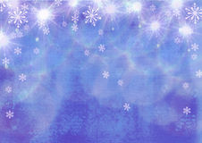 Beautiful festive abstract grunge background with snowflakes and shining stars. Stock Photos