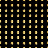 Beautiful festive background for decoration or design. Of Wrapping paper or a gift. Gold circles dots on black background. Vector illustration Royalty Free Stock Photos