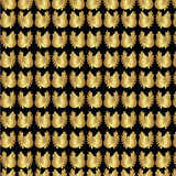 Beautiful festive background for decoration or design. Of Wrapping paper or a gift. Golden roosters chickens on a black background. Vector illustration Stock Photos