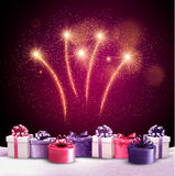 Beautiful festive background with fireworks. And new year's presents. Vector Stock Photos