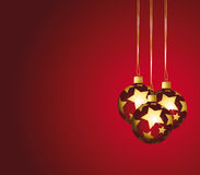 Beautiful festive background with red o. Beautiful festive background with red and golden ornaments Stock Images