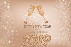 Beautiful festive card vector with glasses with champagne drink Royalty Free Stock Image