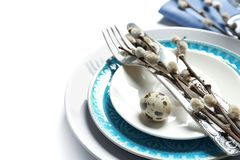 Beautiful festive Easter table setting. On white background Royalty Free Stock Images
