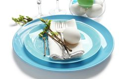 Beautiful festive Easter table setting with egg Royalty Free Stock Images