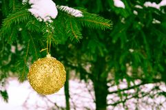 Beautiful festive elegant yellow, golden round balls, Christmas decorations for the new year, Christmas hanging on fir branches stock images