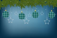 Beautiful festive greeting card with decorations decorating toys Royalty Free Stock Photos