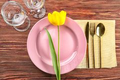 Beautiful festive table setting. In cafe Royalty Free Stock Photos