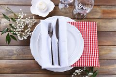 Beautiful festive table setting. In cafe Stock Images