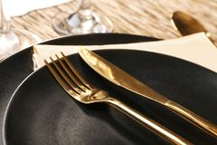 Beautiful festive table setting. Closeup Royalty Free Stock Photography