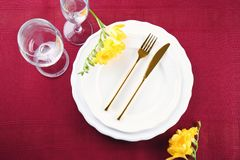 Beautiful festive table setting. In cafe Royalty Free Stock Photography