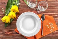 Beautiful festive table setting. In cafe Royalty Free Stock Image
