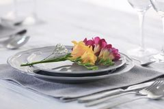 Beautiful festive table setting in cafe. Closeup Stock Image