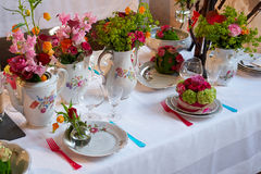 Beautiful festive table setting Stock Photo