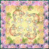 Beautiful festive tablecloth with fairy birds and cherry blossom Stock Photo