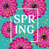 Beautiful festive turquoise background with flowers and confetti. Spring or summer carnival. A bright holiday. Vector illustration Stock Photography