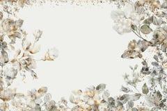 Festive vintage floral postcard. Beautiful festive vintage floral postcard Stock Photo
