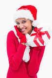 Beautiful festive woman holding gift Royalty Free Stock Photos