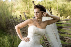 Beautiful fiancee. Horizontal wedding portrait beautiful  fiancee in white dress with wedding veil, on nature Stock Photos
