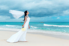 Beautiful fiancee in white wedding dress with big long white tra Royalty Free Stock Photo