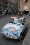 A beautiful fiat 500 in the city of Genoa Royalty Free Stock Photos