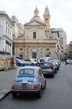 A beautiful fiat 500 in the city of Genoa Stock Image