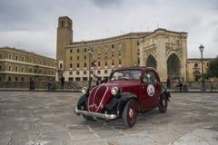 Beautiful fiat topolino on the road lecce. During a race in  lecce beautiful topolino fiat Royalty Free Stock Image