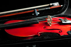 Beautiful fiddle and bow in case Royalty Free Stock Images