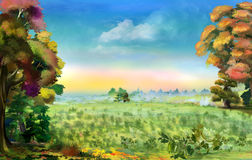 Beautiful Field Pea in Early Autumn. Idyllic landscape with Beautiful Field Pea in Early Autumn. Digital Painting Background, Illustration Stock Image