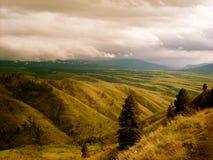 Beautiful fields with amazing cloudy sky stock photo
