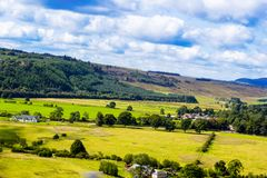Beautiful fields and hills of Scotland. Beautiful hills and fields of Scotland in Summer royalty free stock images