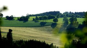 The beautiful fields of Thuringia. Decumatian fields or Agri decumates is an incorrectly interpreted phrase from the work of Tacitus `Germany`, which became the Stock Image