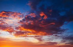 Beautiful fiery, orange and red, sunset sky. Evening Magic Scene. Composition of nature stock photo