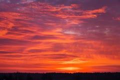 Beautiful fiery orange sky during sunrise. Royalty Free Stock Photo